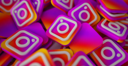 Pile of 3D Instagram Logos